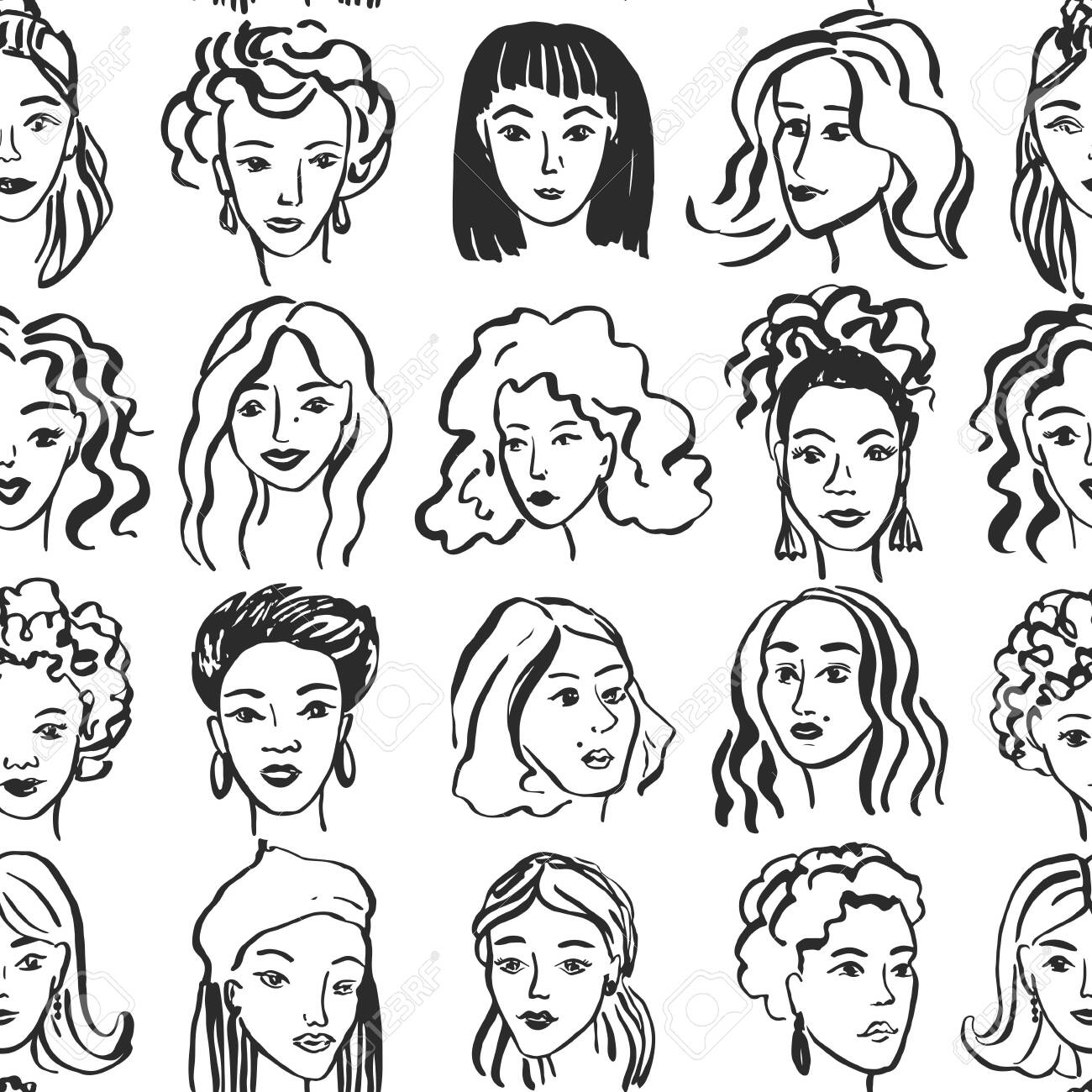 Hand drawn face pattern. Trendy woman face seamless texture with abstract line shapes, minimal girl face. Vector stylized design pattern - 145775835