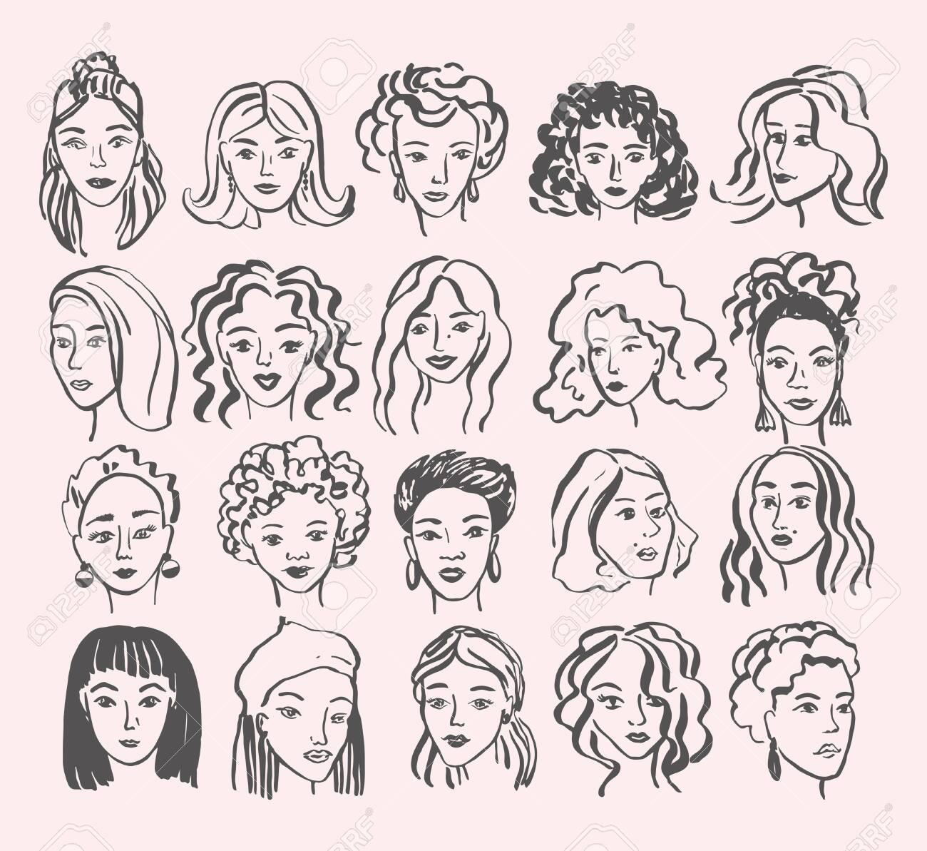 Hand drawn face collection. Trendy woman face set with abstract line shapes, minimal girl face. Vector stylized design illustration - 145791890