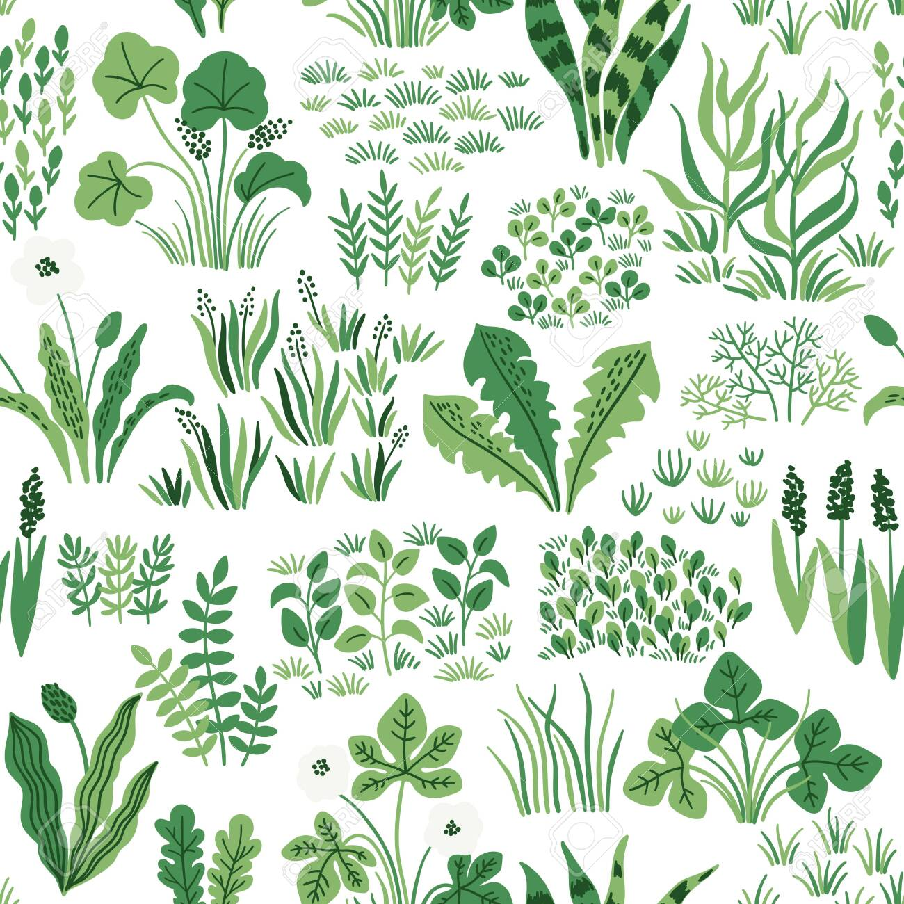 Nature seamless pattern with wildflowers, grass and leaves. Vector meadow hand drawn background - 148555733