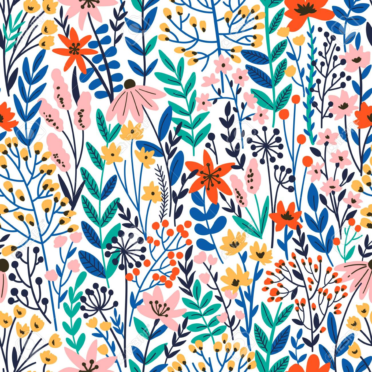 Cute Floral seamless pattern with tiny flower. Wild flowers illustration. Elegant template for fashion prints. - 148555734