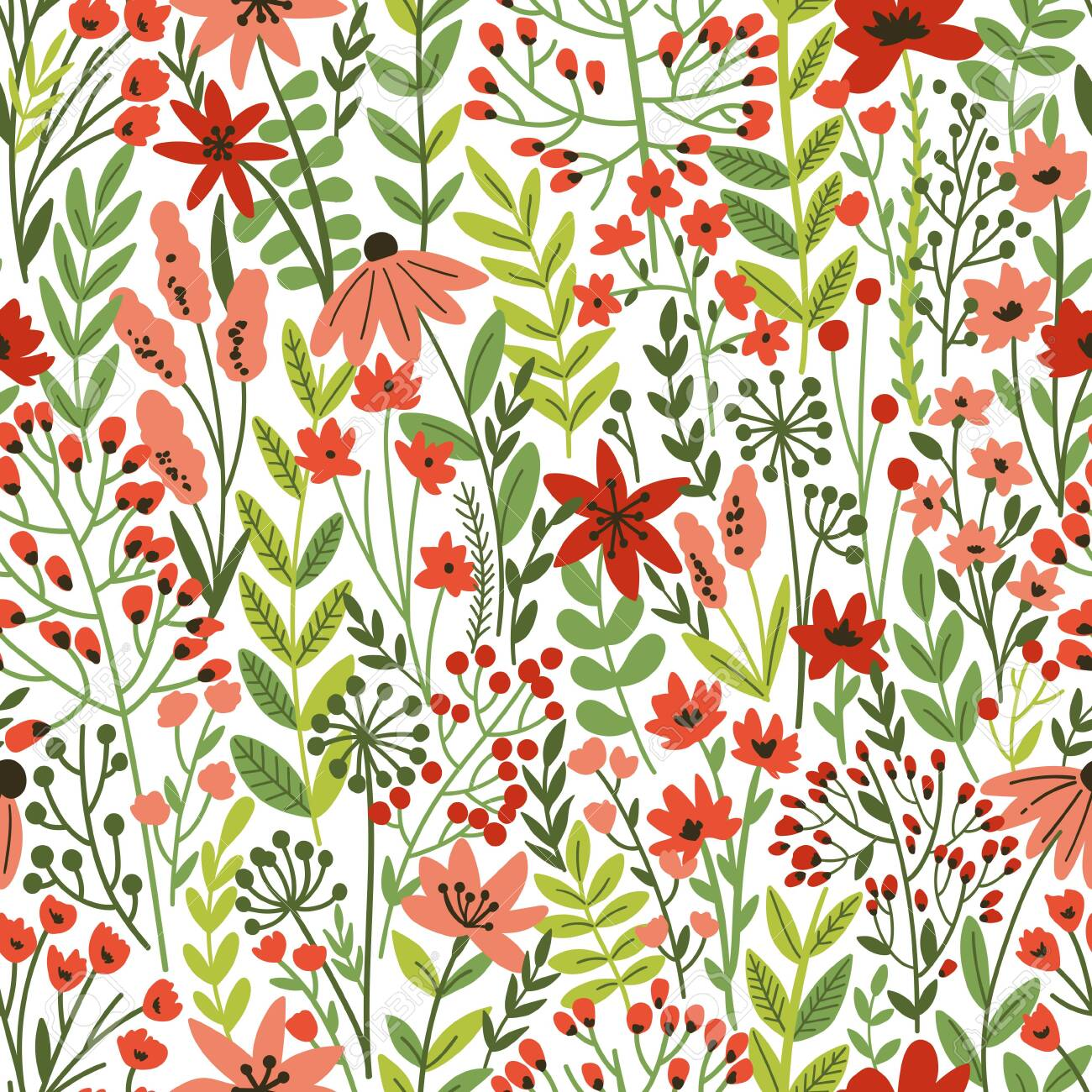 Cute Floral seamless pattern with tiny flower. Wild flowers illustration. Elegant template for fashion prints. - 149823752
