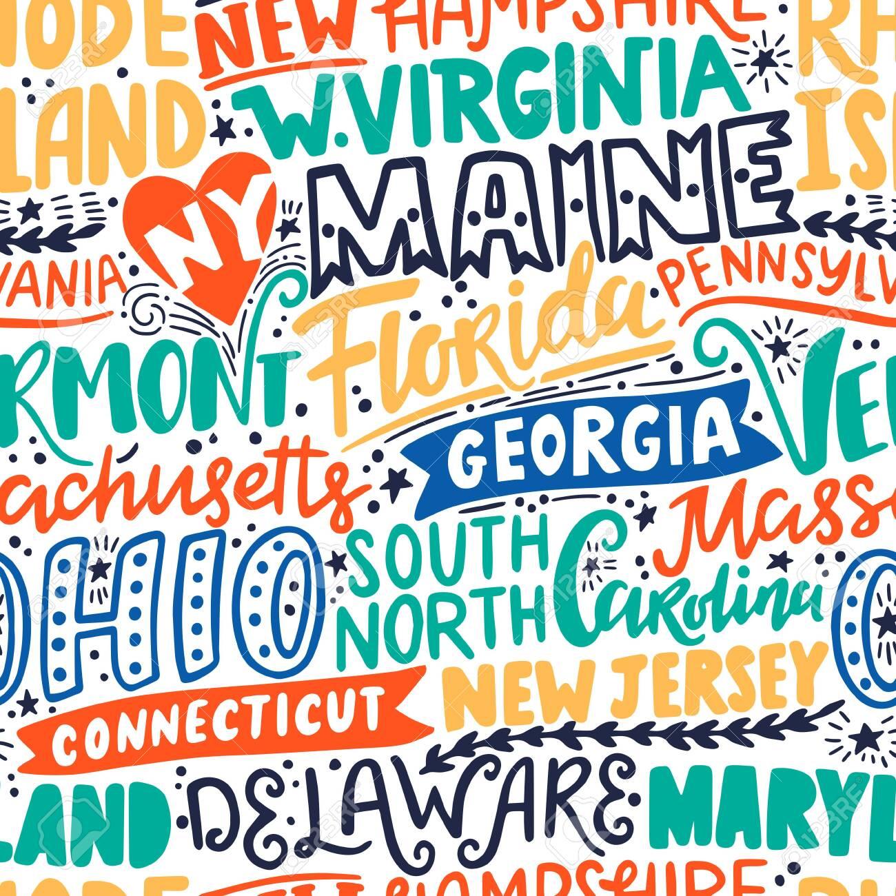 Vector seamless pattern with USA states. New York, Maine, Florida, Georgia, Vermont, Massachusetts, Ohio, Carolina, New Jersey, Connecticut, Maryland, Delaware, Virginia, Rhode Island, Pennsylvania - 149823750