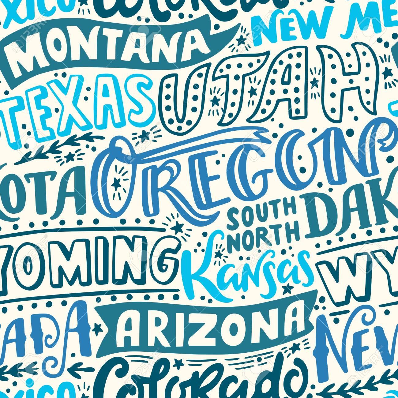 Vector seamless pattern with USA states. Oregon, Utah, Montana, New Mexico, Texas, Dakota, Wyoming, Kansas, Arizona, Nevada, Colorado - 149823749