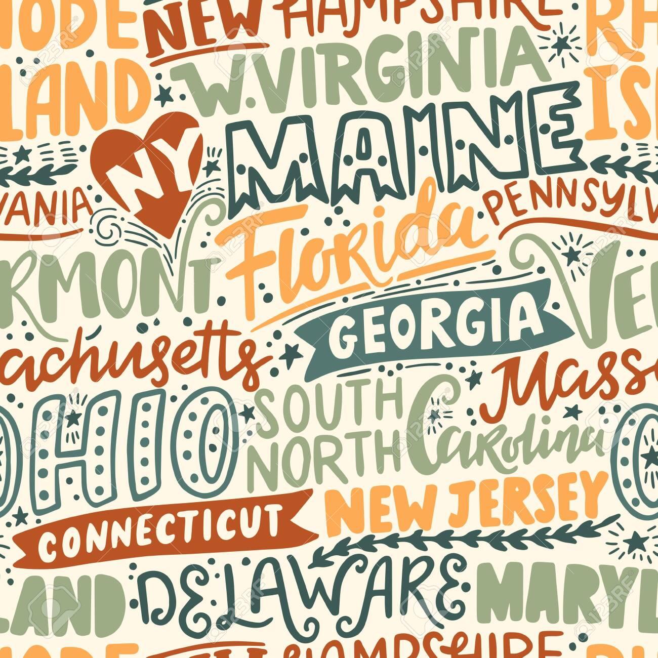 Vector seamless pattern with USA states. New York, Maine, Florida, Georgia, Vermont, Massachusetts, Ohio, Carolina, New Jersey, Connecticut, Maryland, Delaware, Virginia, Rhode Island, Pennsylvania - 149823748