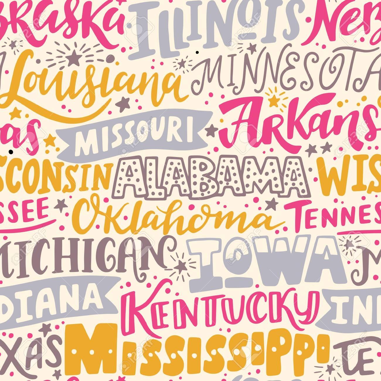 Vector seamless pattern with USA states. Illinois, Nebraska, Louisiana, Arkansas, Missouri, Wisconsin, Alabama, Tennessee, Oklahoma, Michigan, Iowa, Indiana, Kentucky, Texas, Mississippi - 149823756