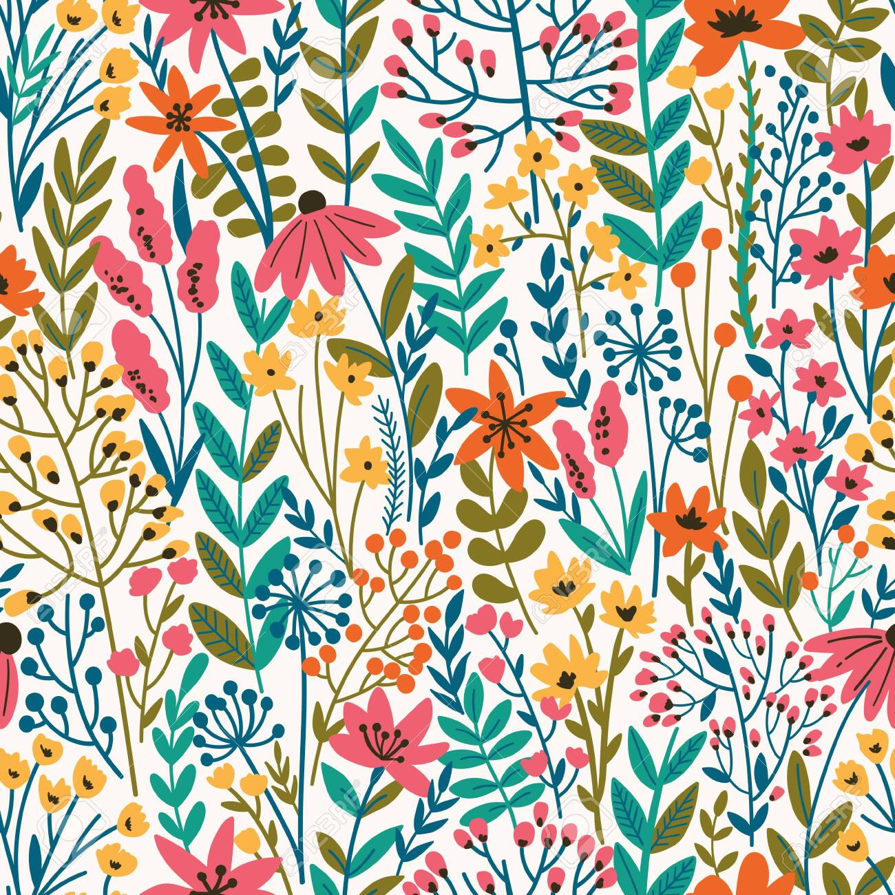 Cute Floral seamless pattern with tiny flower. Wild flowers illustration. Elegant template for fashion prints. - 149966299