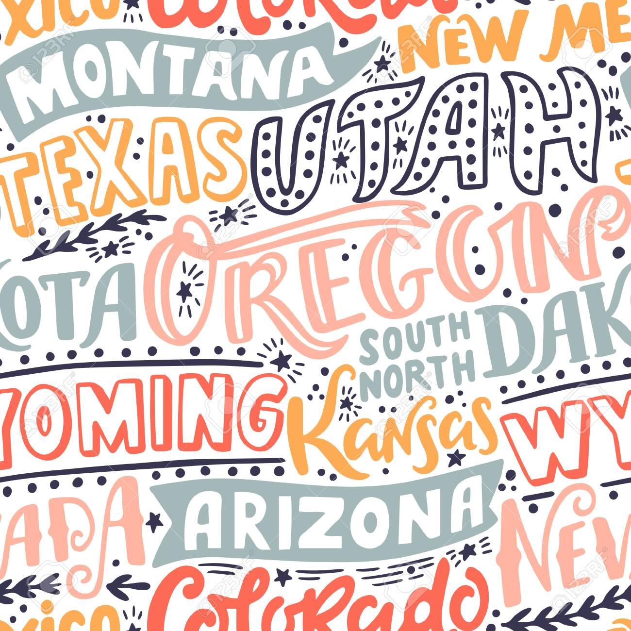 Vector seamless pattern with USA states. Oregon, Utah, Montana, New Mexico, Texas, Dakota, Wyoming, Kansas, Arizona, Nevada, Colorado - 149966306