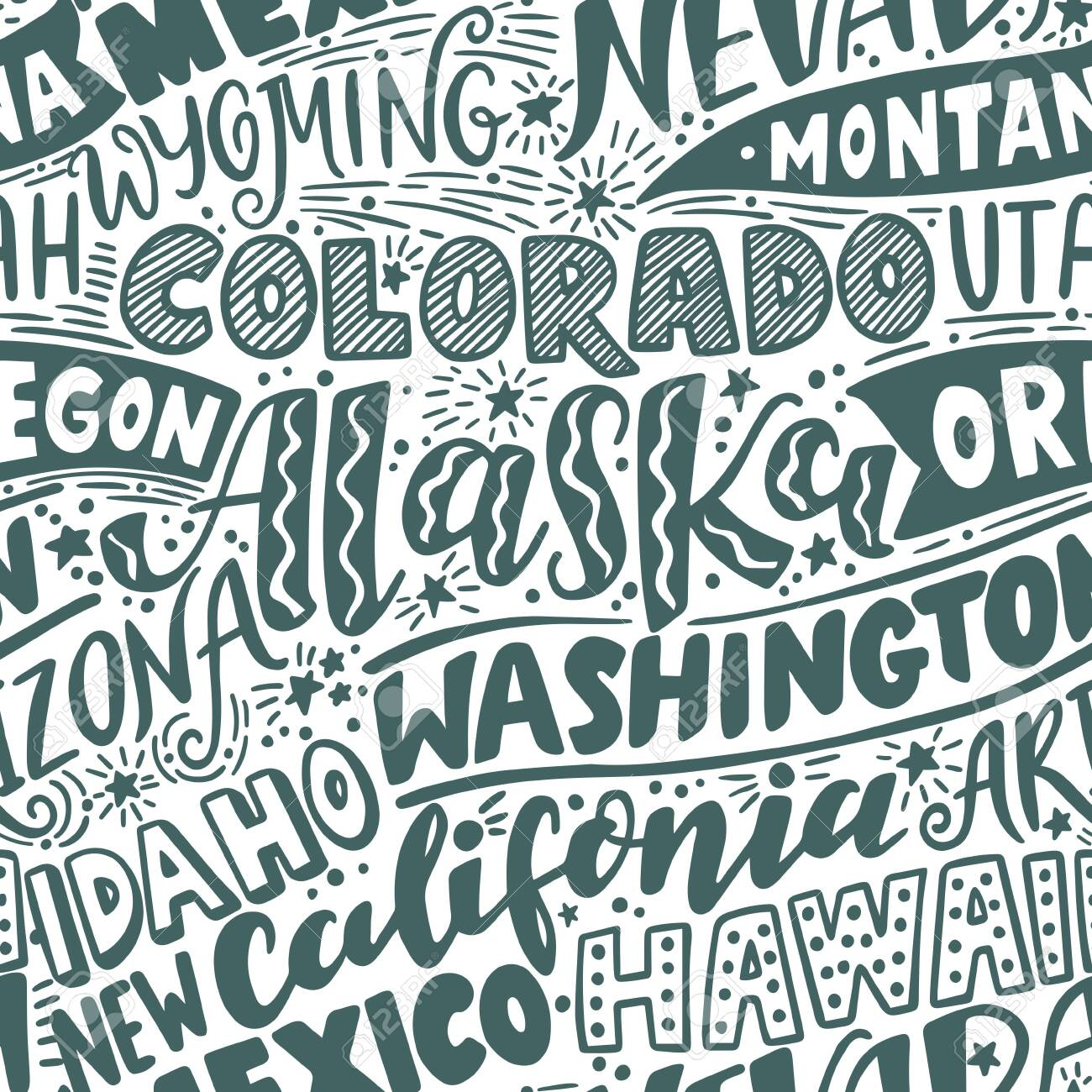 Vector seamless pattern with USA states. Washington, California, Oregon, Alaska, Colorado, Wyoming, Nevada, Montana, Utah, Idaho, Arizona, Hawaii, New Mexico - 149966307