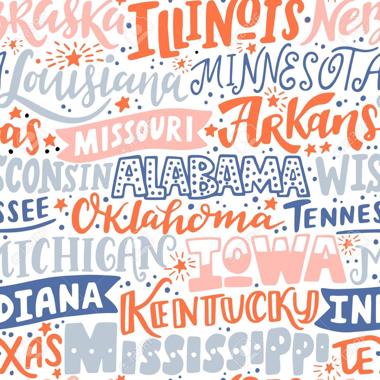 Vector seamless pattern with USA states. Illinois, Nebraska, Louisiana, Arkansas, Missouri, Wisconsin, Alabama, Tennessee, Oklahoma, Michigan, Iowa, Indiana, Kentucky, Texas, Mississippi - 150409973