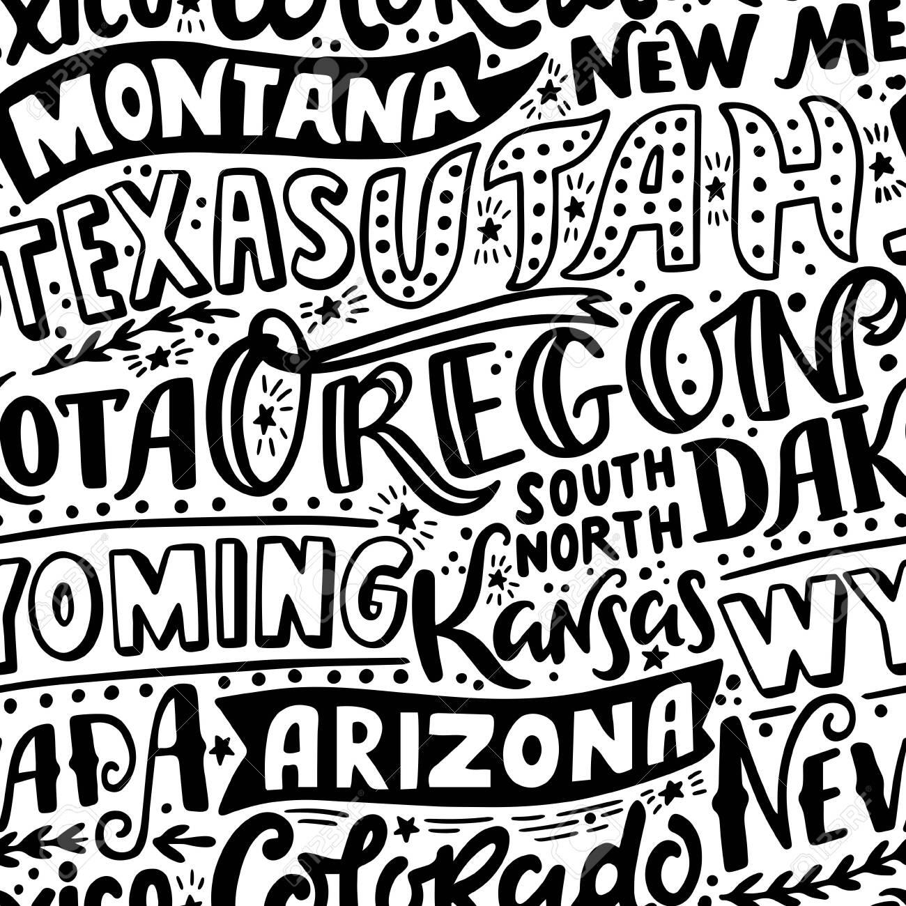 Vector seamless pattern with USA states. Oregon, Utah, Montana, New Mexico, Texas, Dakota, Wyoming, Kansas, Arizona, Nevada, Colorado - 151065122