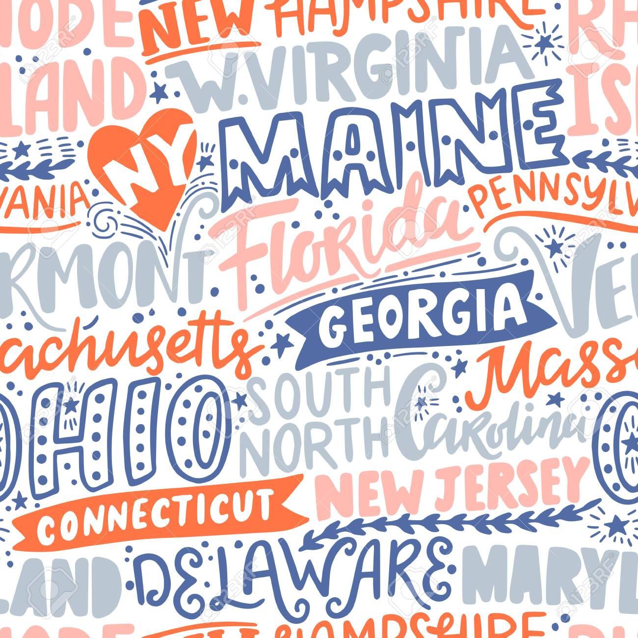 Vector seamless pattern with USA states. New York, Maine, Florida, Georgia, Vermont, Massachusetts, Ohio, Carolina, New Jersey, Connecticut, Maryland, Delaware, Virginia, Rhode Island, Pennsylvania - 151065123