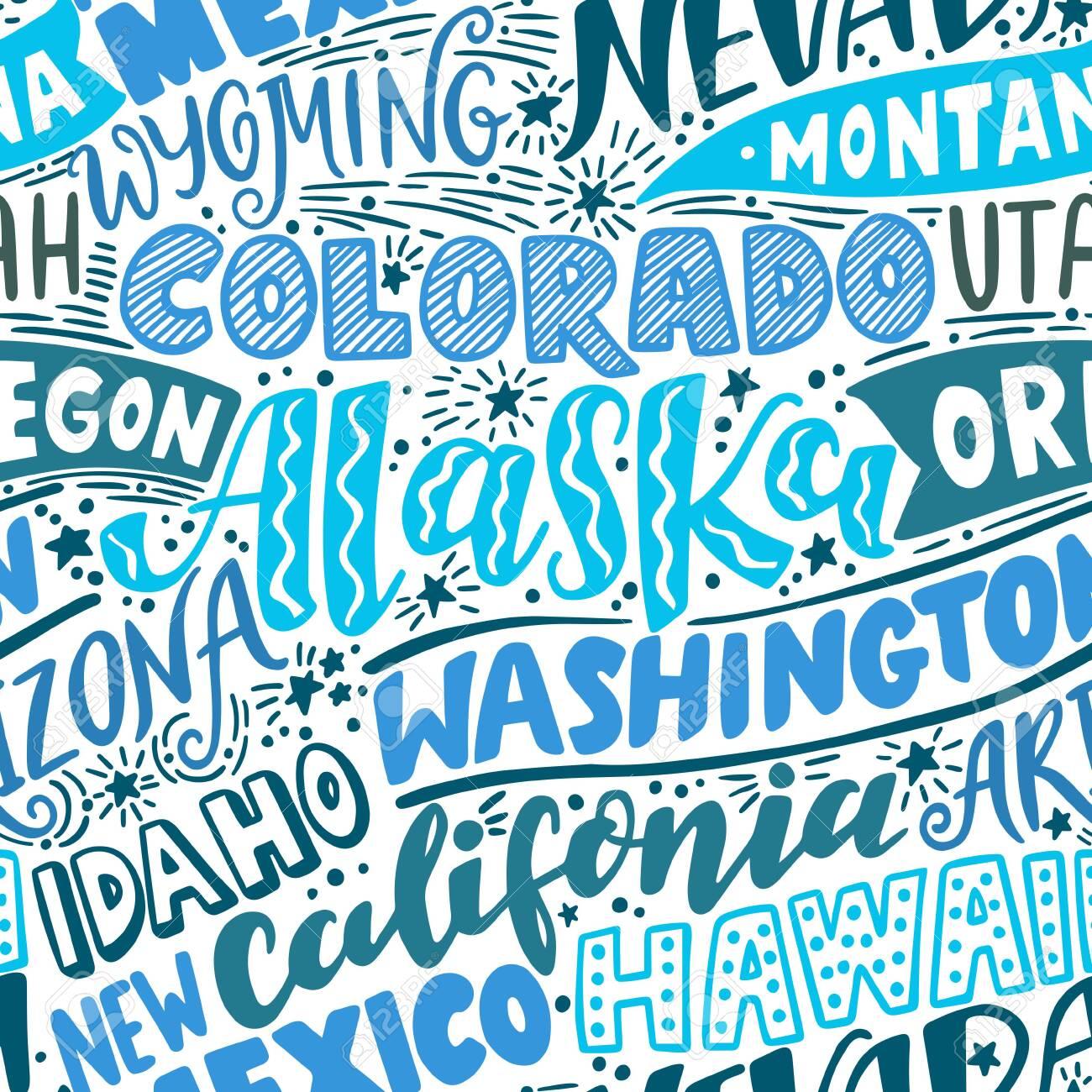 Vector seamless pattern with USA states. Washington, California, Oregon, Alaska, Colorado, Wyoming, Nevada, Montana, Utah, Idaho, Arizona, Hawaii, New Mexico - 151065125