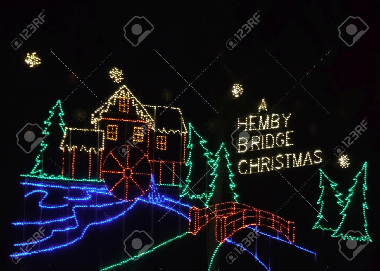December 25, 2017 - Indian Trail, NC - Christmas lights at Hemby Bridge Stock Photo - 78727535