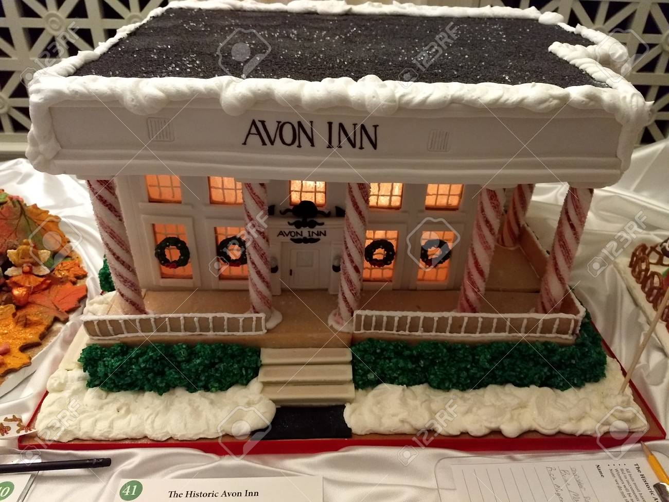 Editorial - November 14, 2017 - Rochester, NY - George Eastman Museum - gingerbread house exhibit Stock Photo - 90126992