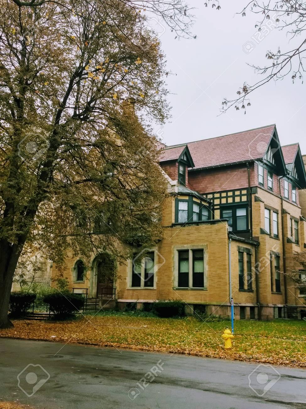 November 16, 2017 - Rochester, NY - historic building in the Dartmouth neighborhood Stock Photo - 93494304