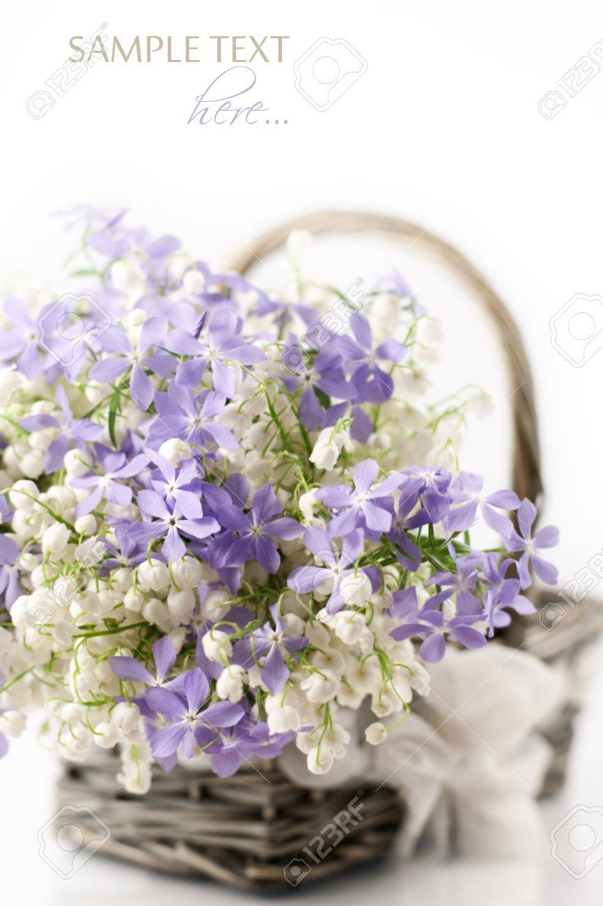 Bouquet Of Spring Flowers In Basket On White Background Stock Photo