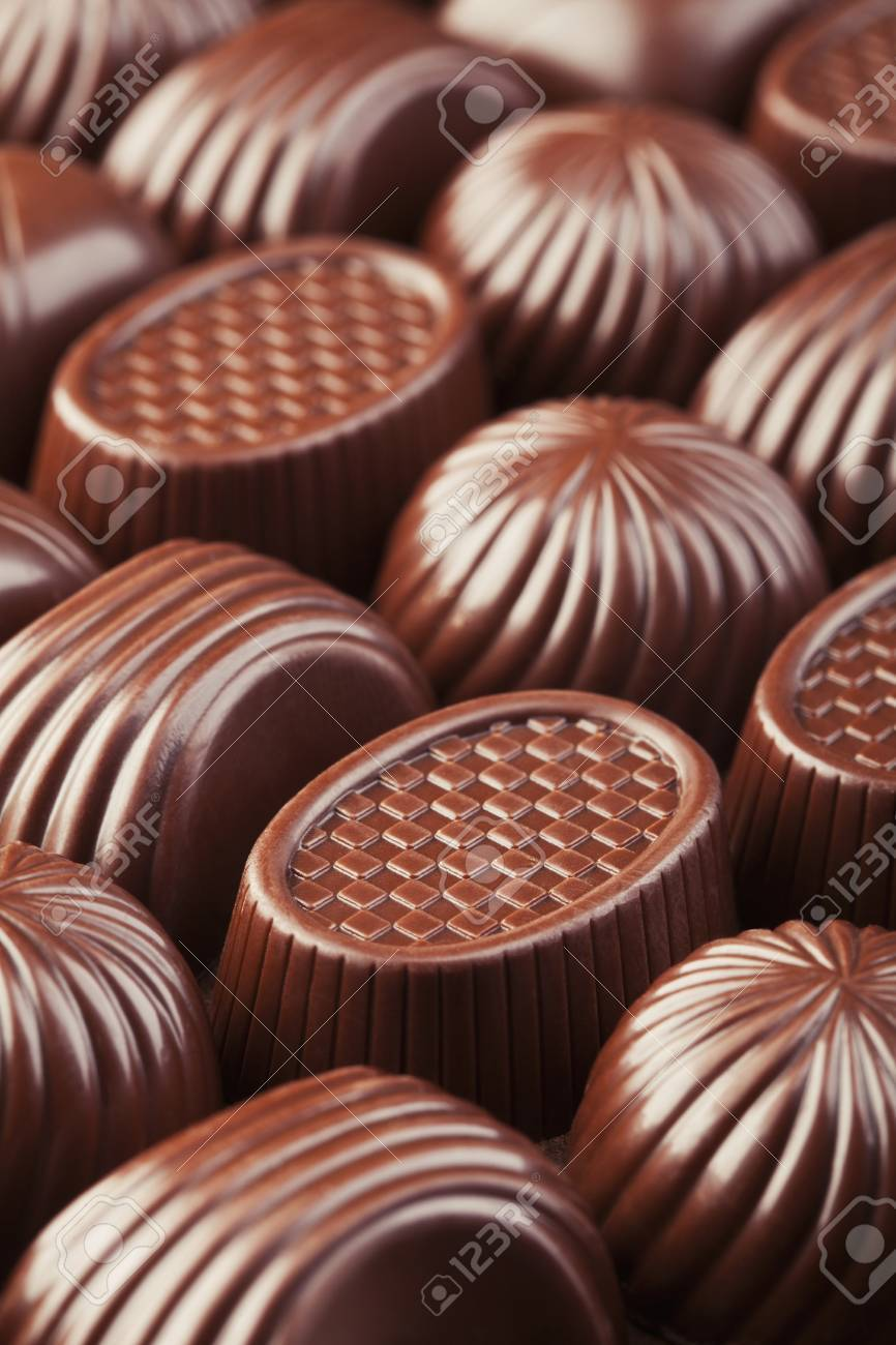 Assorted delicious chocolate pralines background Stock Photo - 20461839