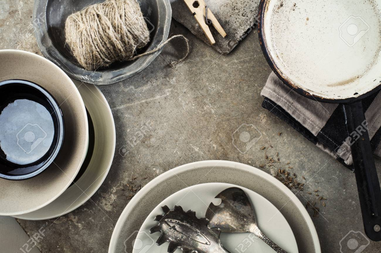 Stock Photo - Vintage tableware cutlery on grey stone backround : grey stone tableware - pezcame.com