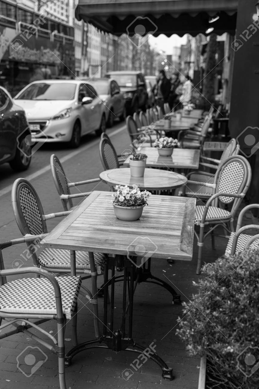 Small Cafe Tables Outside On A Street Stock Photo