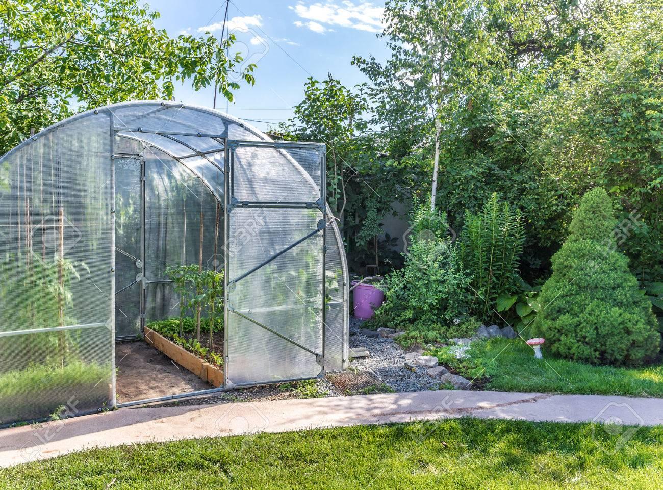 Gewächshaus Im Garten Hinter Dem Haus Mit Offener Tür Lizenzfreie ...