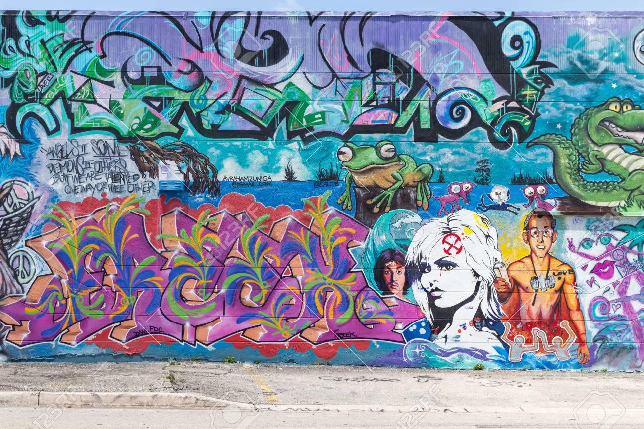 miami usa august graffiti on walls in graffiti district on
