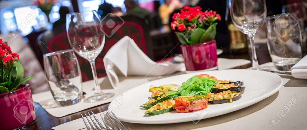 Fine table setting in a luxurious restaurant - 43028776