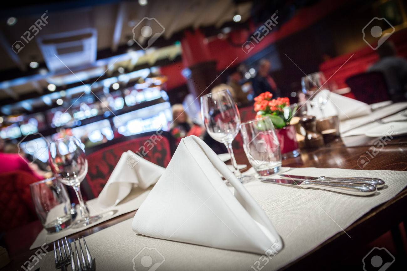 Fine table setting in a luxurious restaurant - 43028963