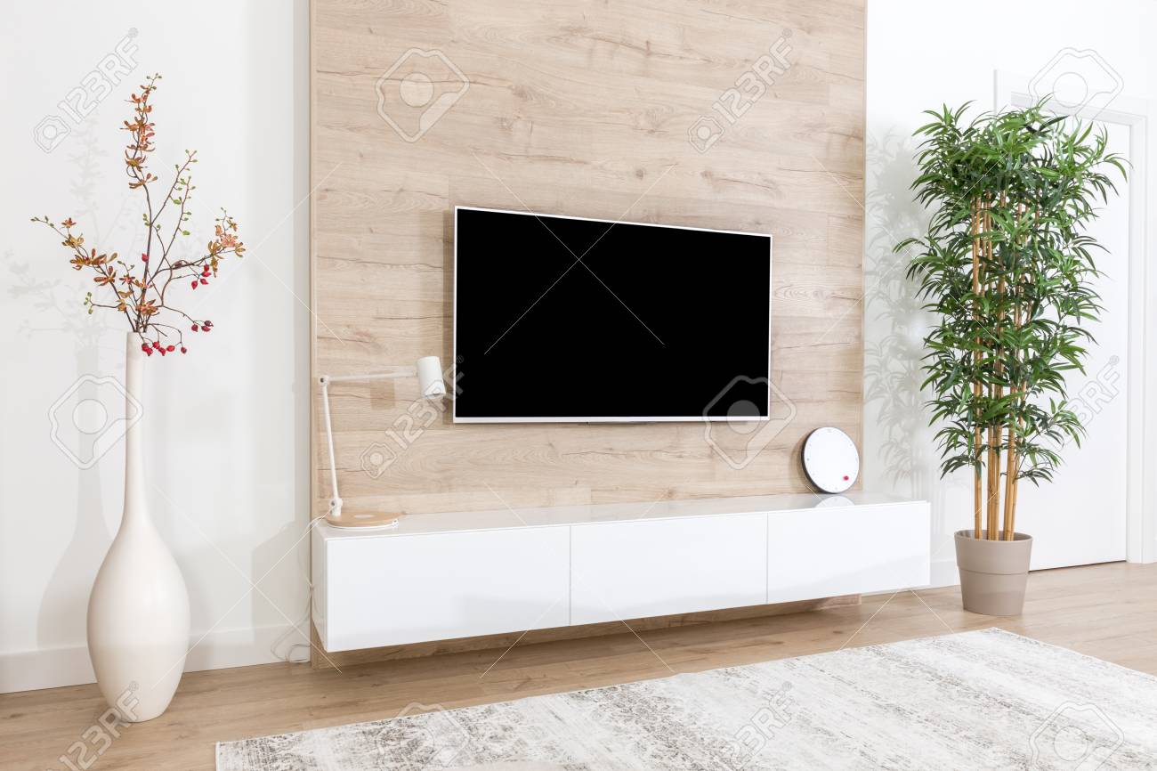 Living Room With Couch And Led Tv On Wooden Wall Stock Photo Picture And Royalty Free Image Image 117533372