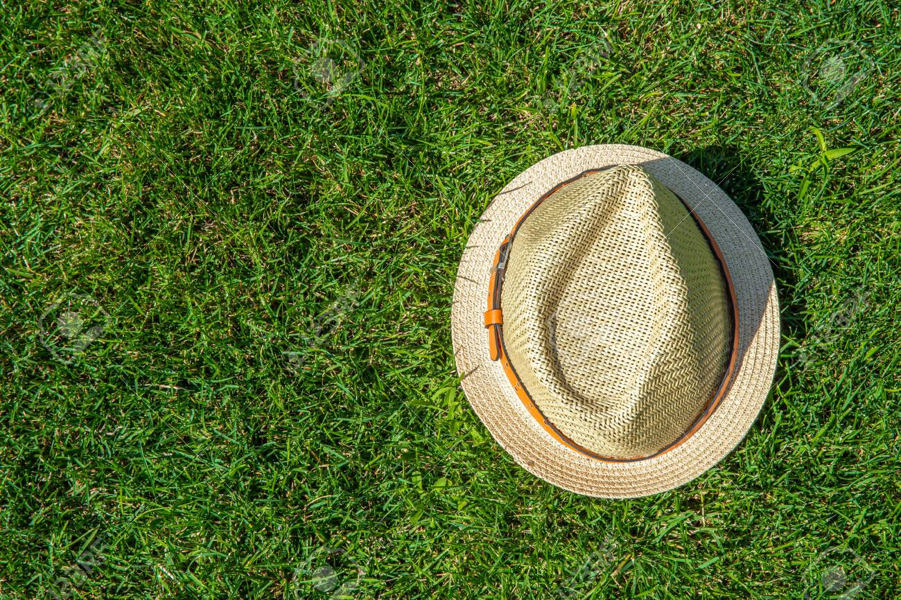 Straw hat on the green grass background - 128911779