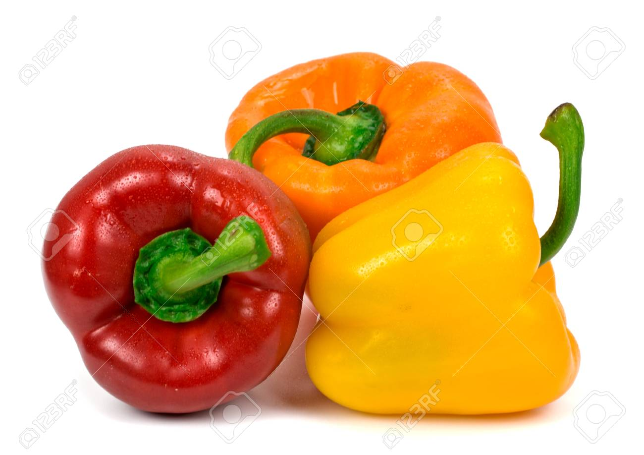 6ea871a9e4f6 red green yellow pepper on white background Stock Photo - 73416398