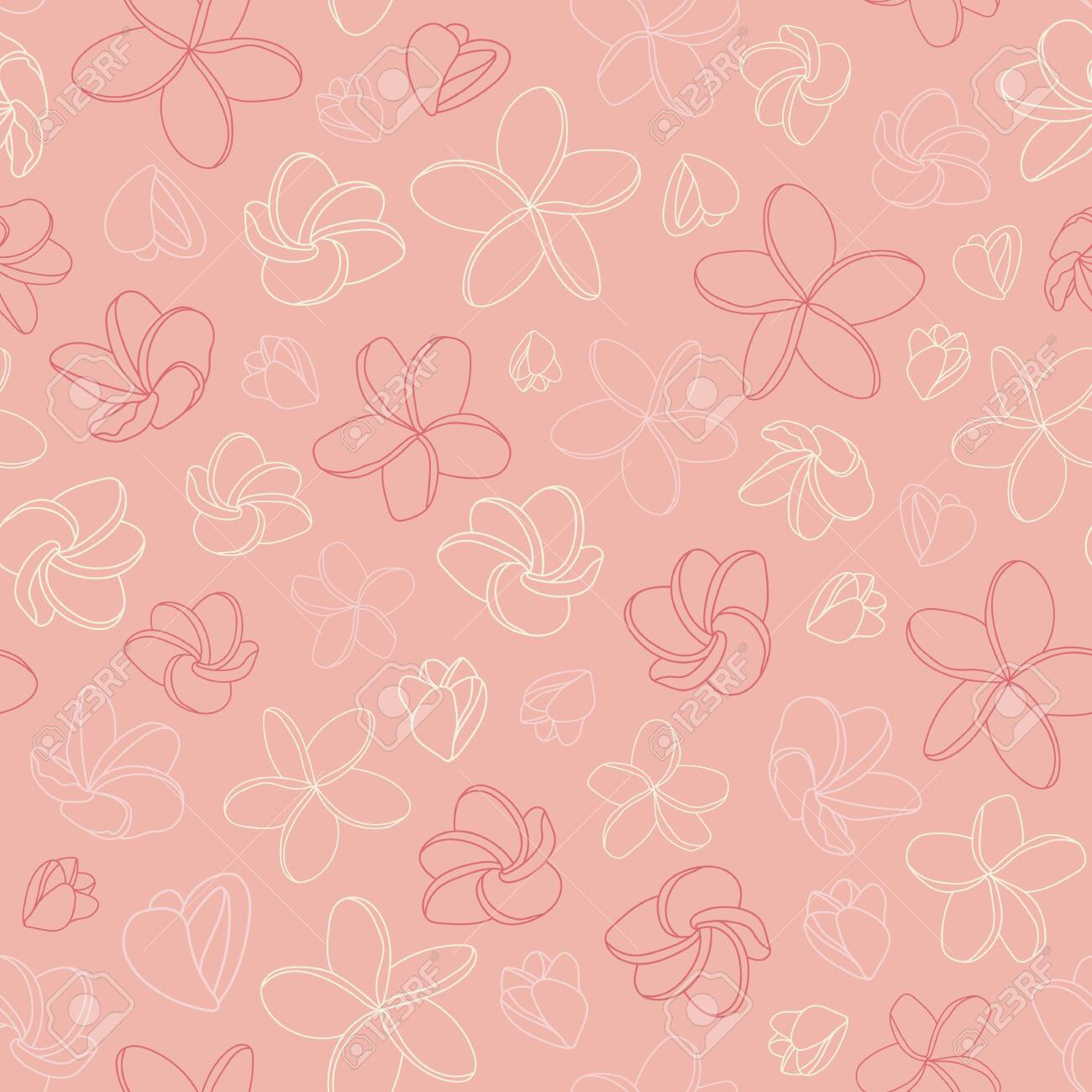 Romantic pink vector pattern with plumeria flowers - 140239382