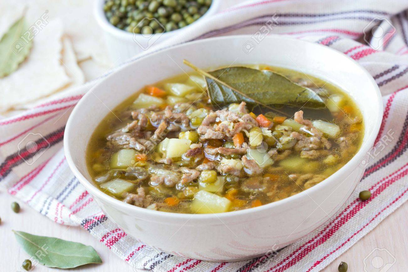 Meat winter soup with beef, mung green beans, legumes, potatoes, hot Indian оriental dish Stock Photo - 25328196