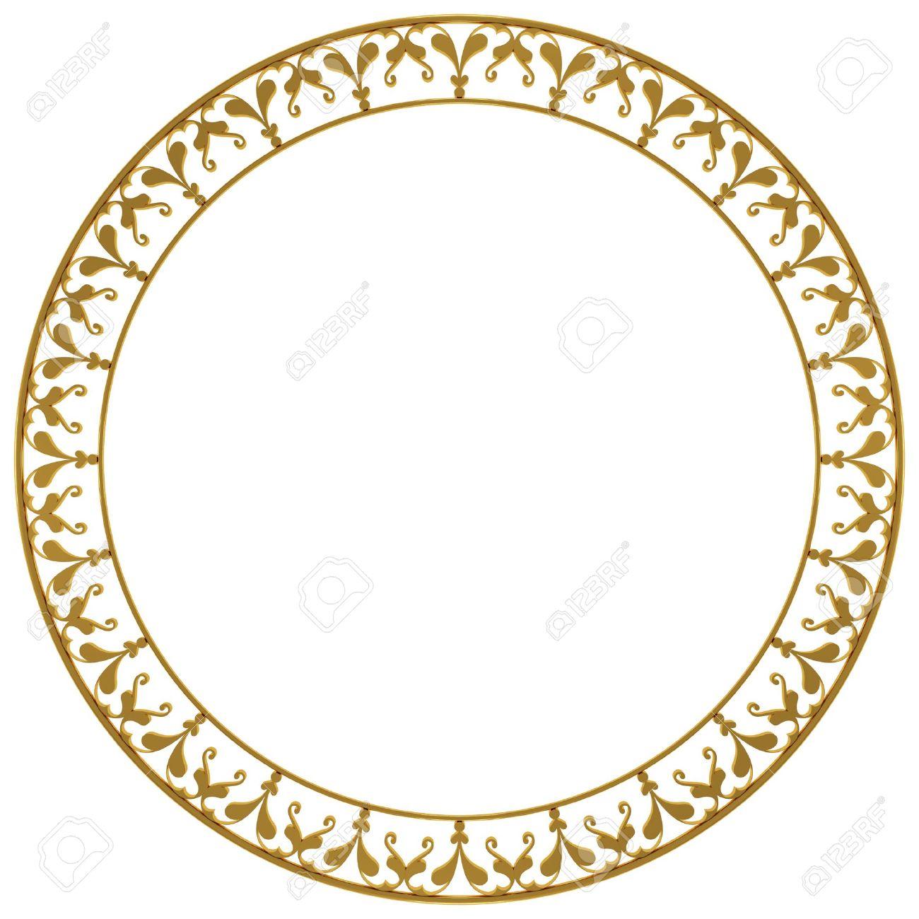 Round Rahmen Aus Gold Auf Einem Weißen Hintergrund Lizenzfreie Fotos ...