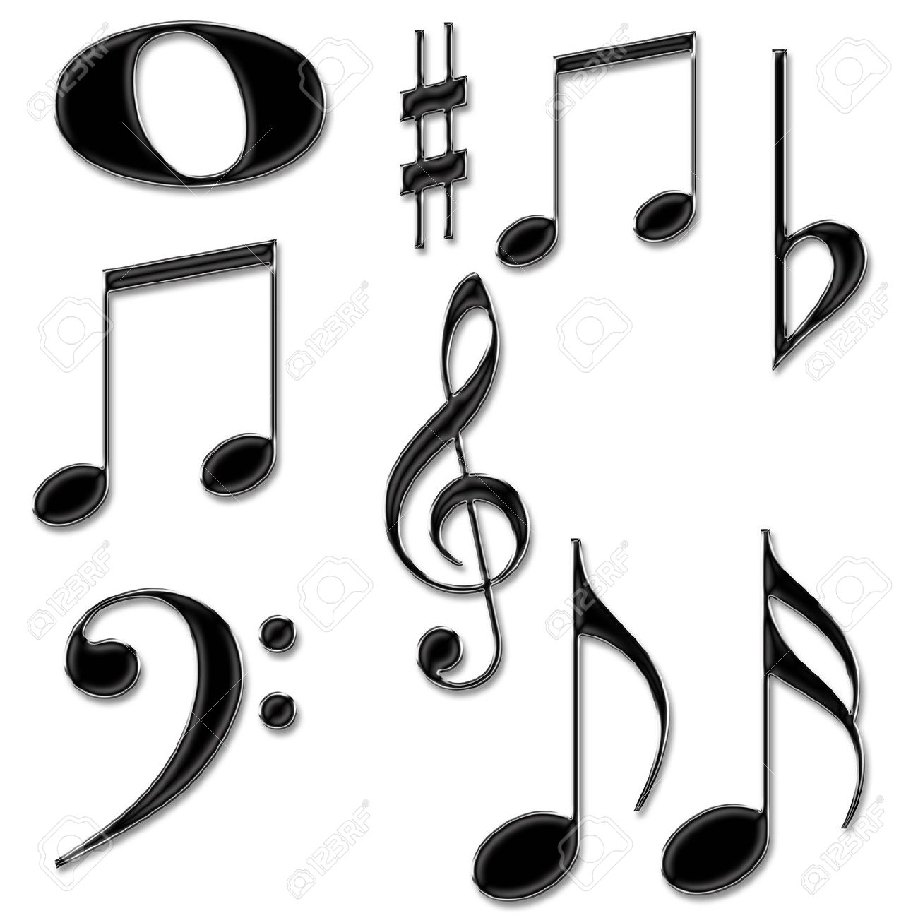 Music Notes Symbols Isolated On A White Background Stock Photo