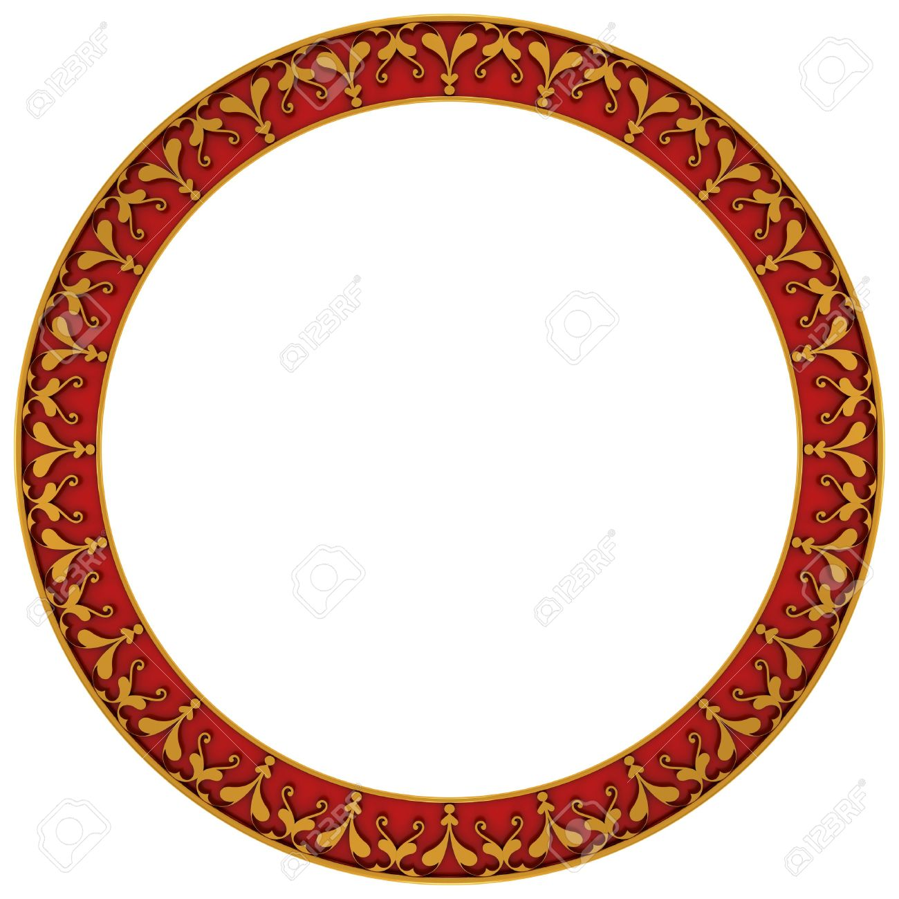 round frame made of gold on a white background stock photo 10752006