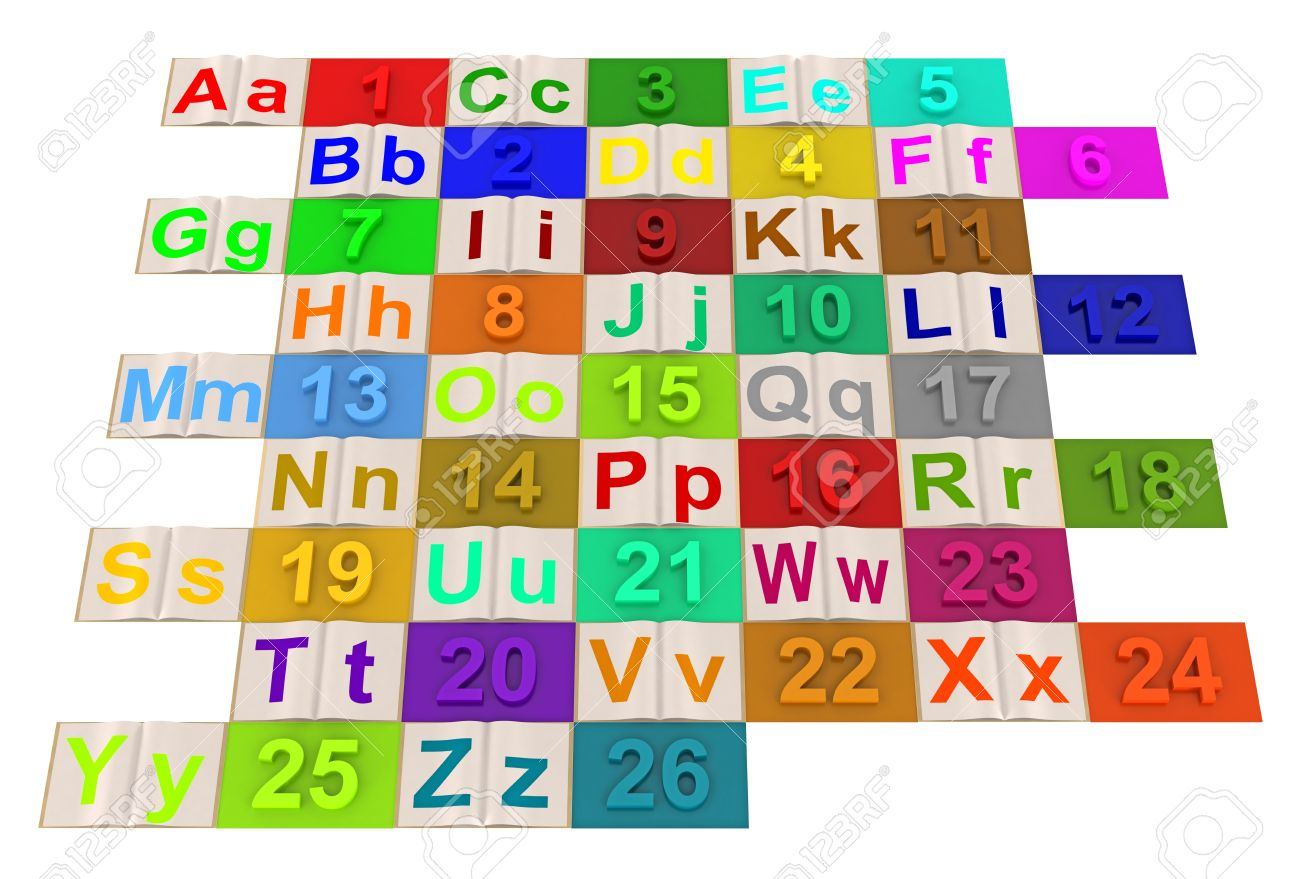 English alphabet letters with numbered colored Stock Photo - 13753032