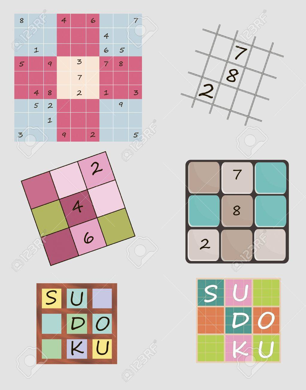 Set of vector illustrations of Sudoku game including icon Stock Vector - 20886347