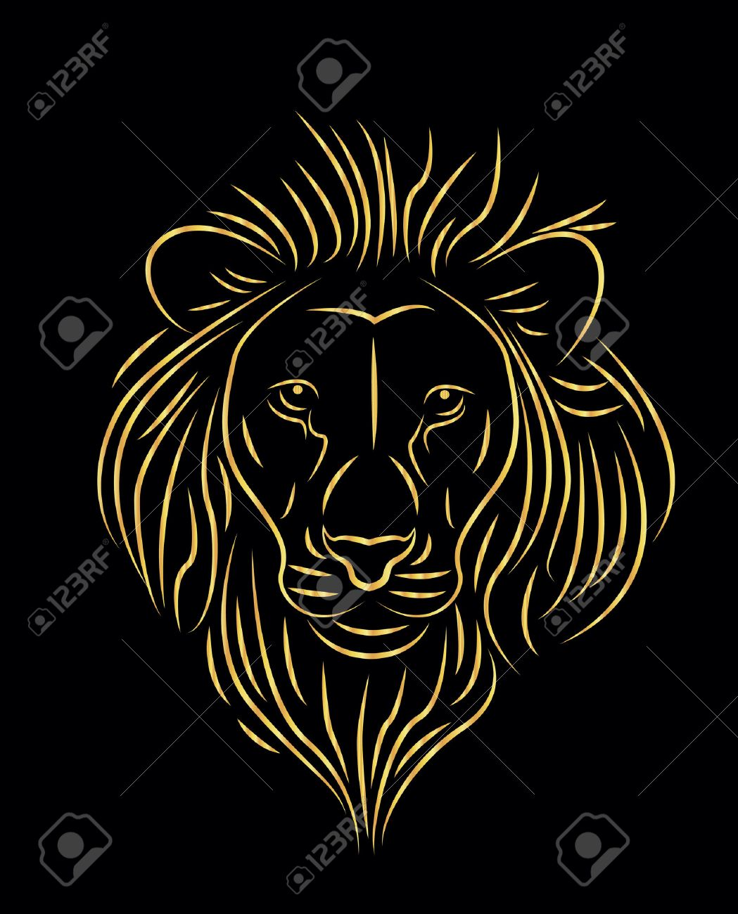vector illustration of golden lion drawing Stock Vector - 22478949