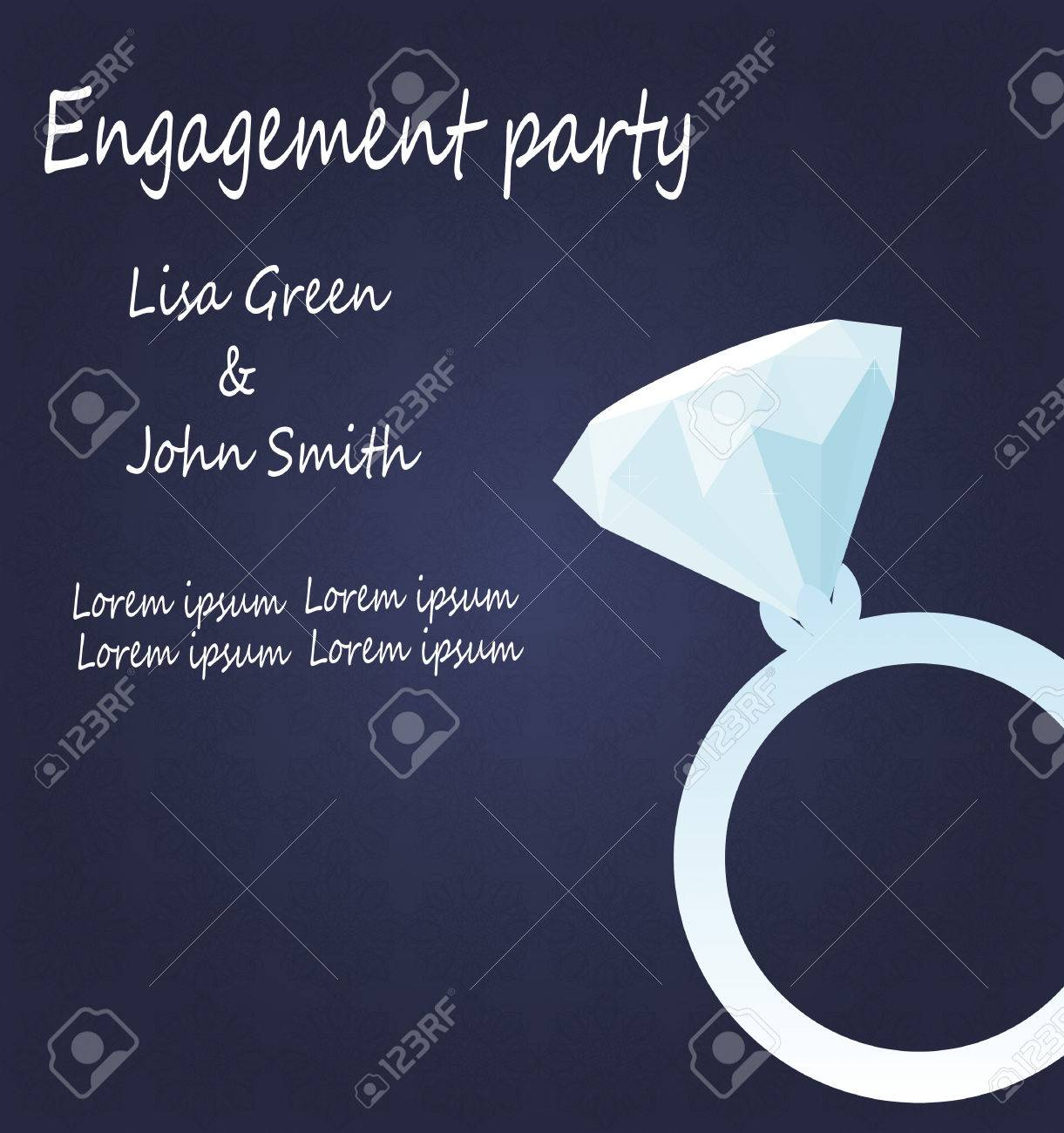 Vector Engagement Invitation With Diamond Ring Royalty Free ...