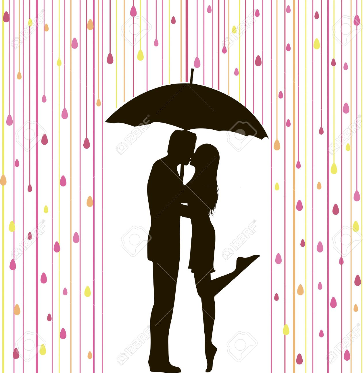abstract vector illustration of couple silhouette under colorful rain Stock Vector - 23124062