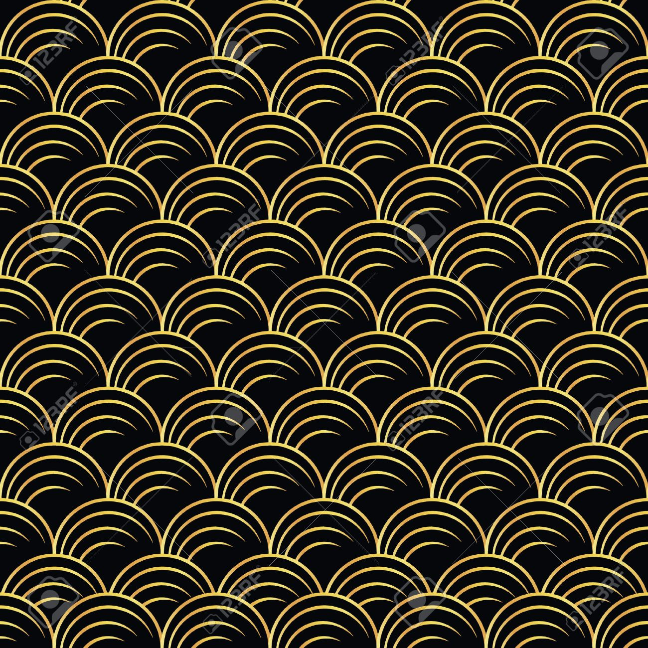 Vector Illustration Of Golden Seamless Pattern In Art Deco Style ...