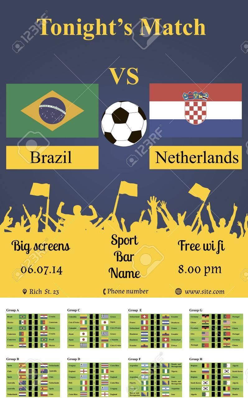 試合サッカー選手権試合チラシ国旗のベクトル イラスト ロイヤリティ