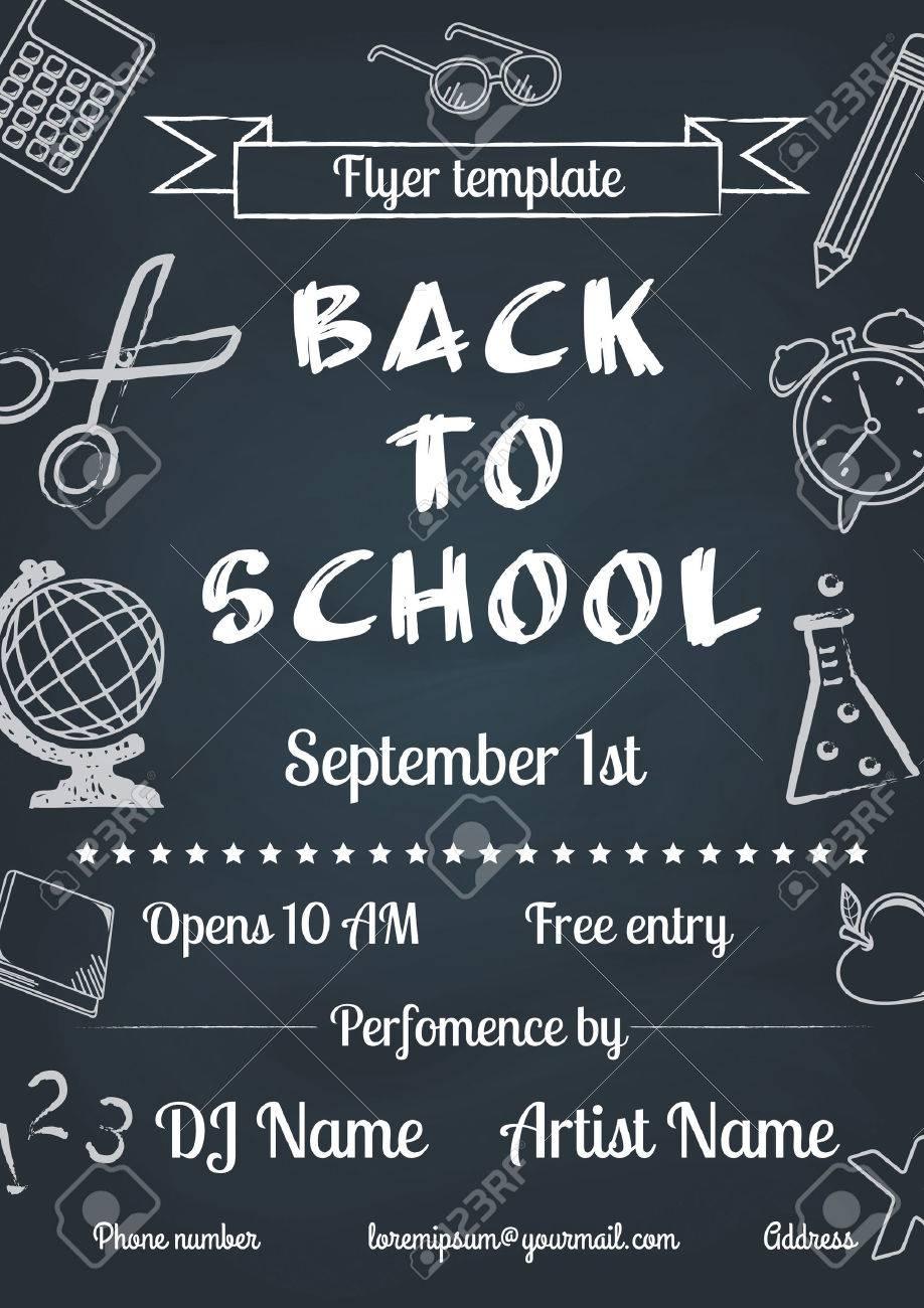 vector illustration of Back to school blue chalk board flyer in vintage style - 30686451