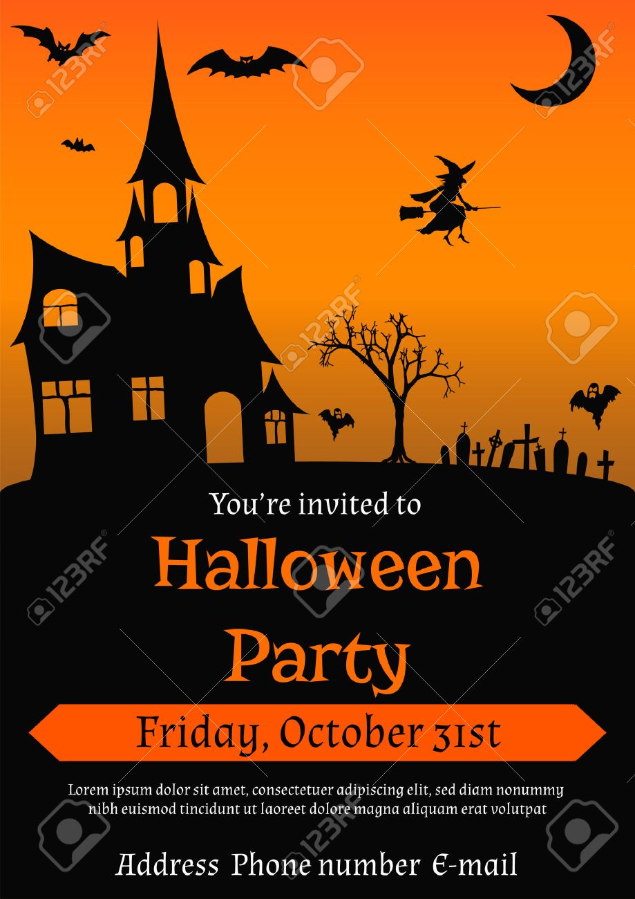 Illustration Of Halloween Party Invitation In Vintage Style ...
