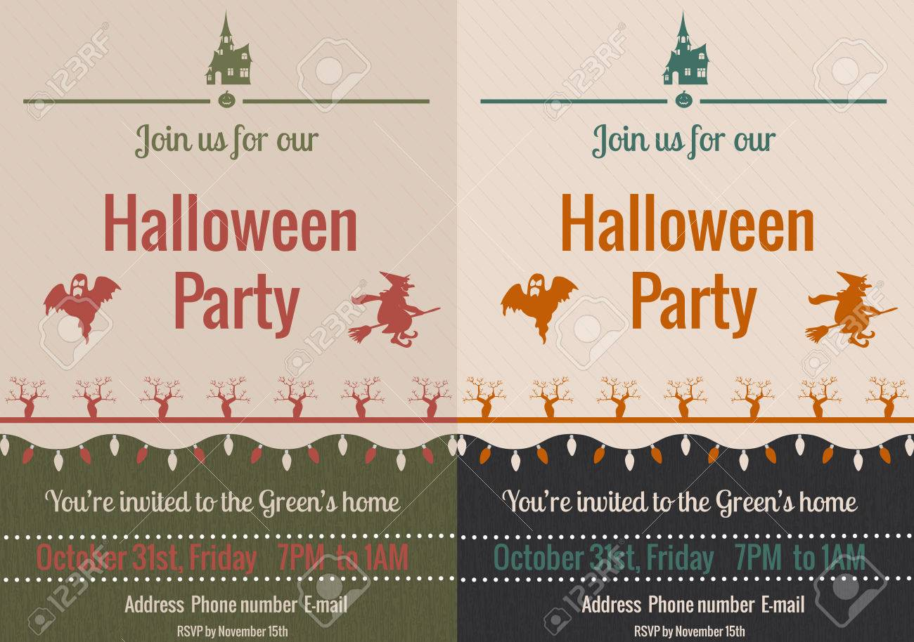 Set Of Halloween Party Invitations In Vintage Style Royalty Free ...