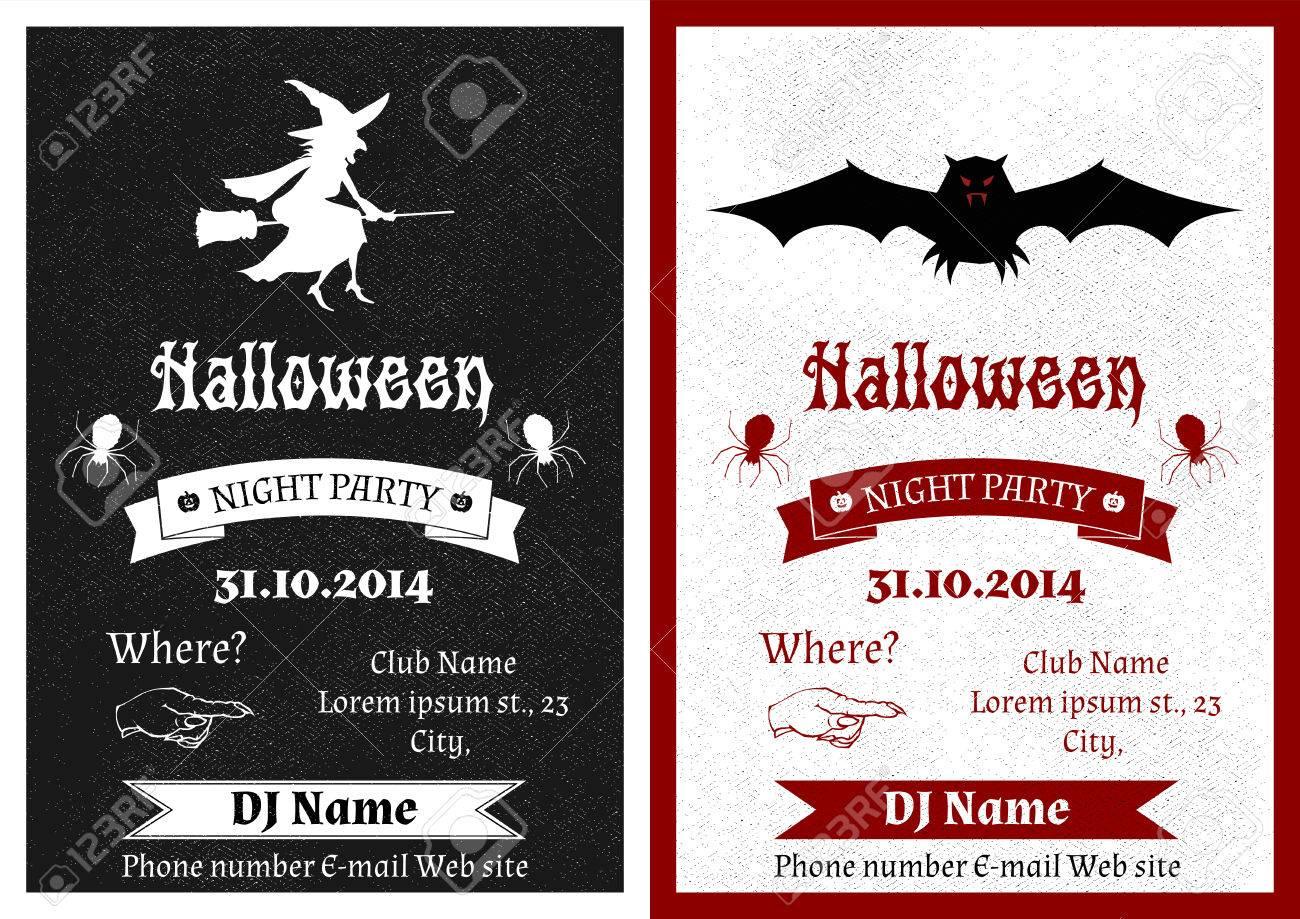 Set Aus Schwarzen Und Weißen Weinlese Halloween Party Einladung, Einladung