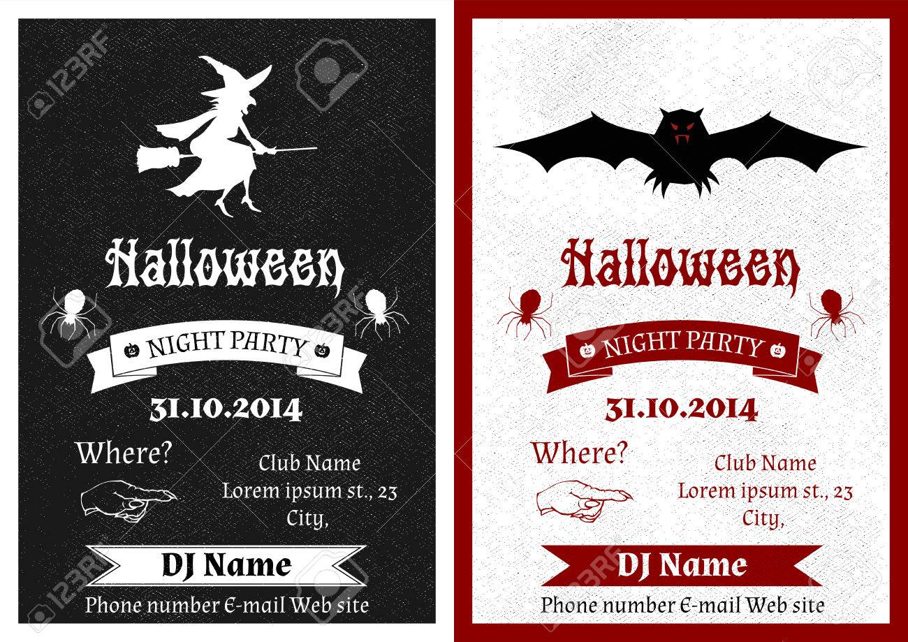 Set Of Black And White Vintage Halloween Party Invitation Royalty ...