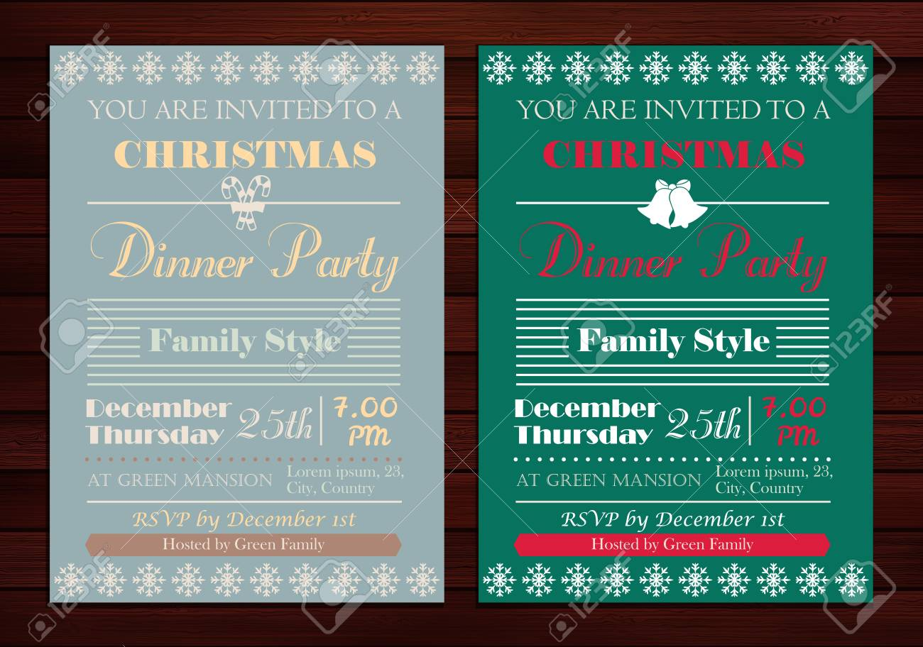 Vector Set Of Christmas Party Invitations Or Greeting Cards Template ...