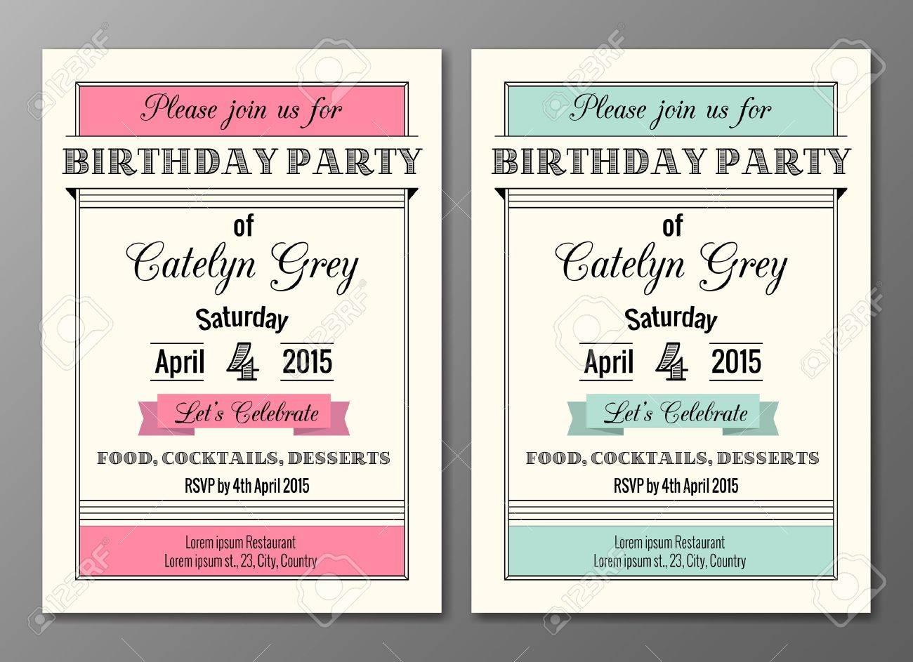 アールデコの誕生日パーティの招待状のデザイン テンプレートのベクトル