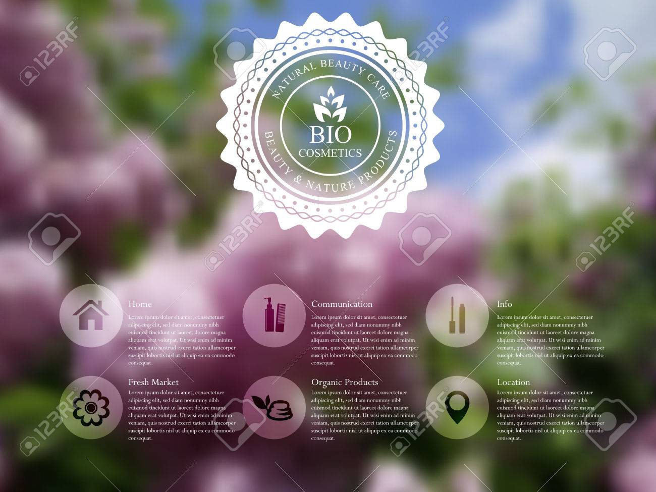 Vector illustration of web and mobile interface template with badge label and lilac flowers. Organic cosmetics blurred website design. - 36619624
